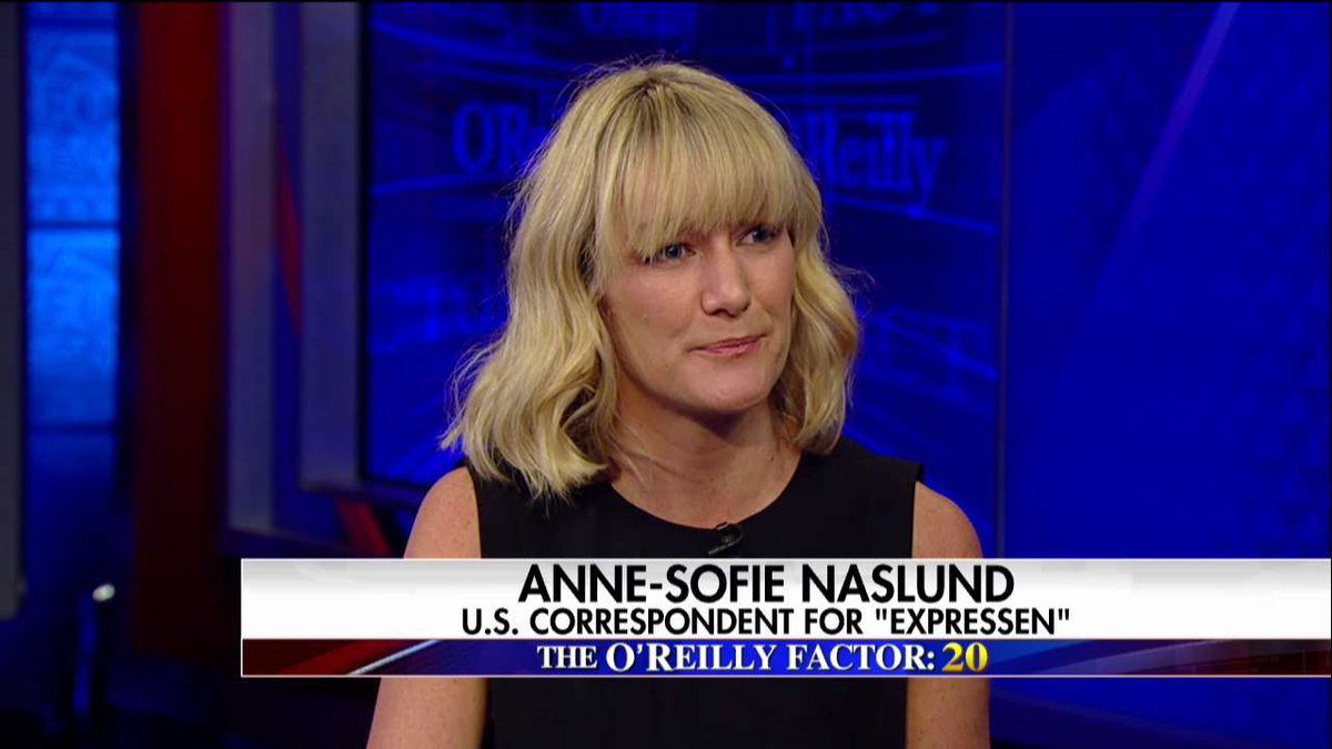 .@annesofieNYC on crime in Sweden: 'Most people really feel safe in Sweden.' #oreillyfactor