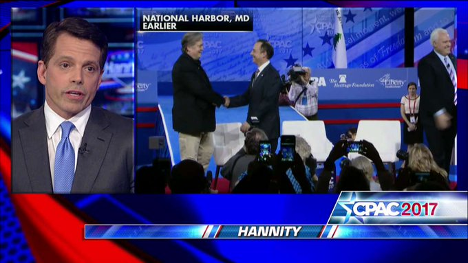 """.@Scaramucci: """"The business community is very fired up about @POTUS. You can see it in the stock market.' #Hannity"""