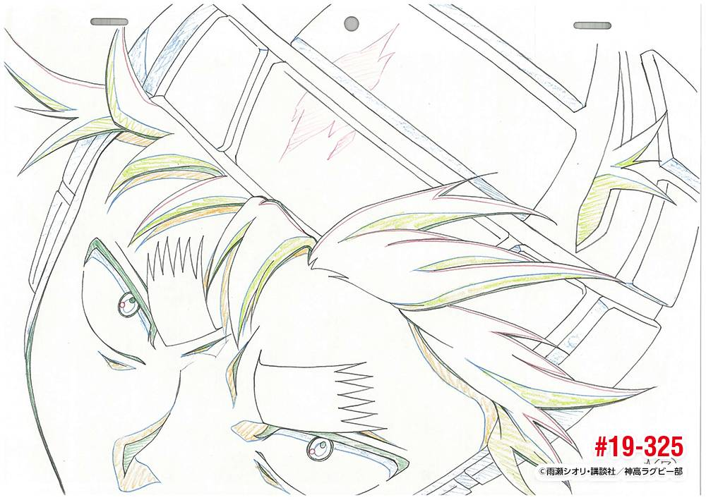 「ALL OUT!!」原画特集 19話カット325ラストは試合最後にタックルする祇園。動きから表情まで、流石の一言!佐野