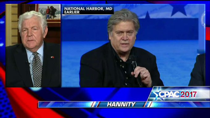 """.@WilliamJBennett: """"You can accuse Steve Bannon, I guess, of a lot of things...but he's very, very smart.' #Hannity"""