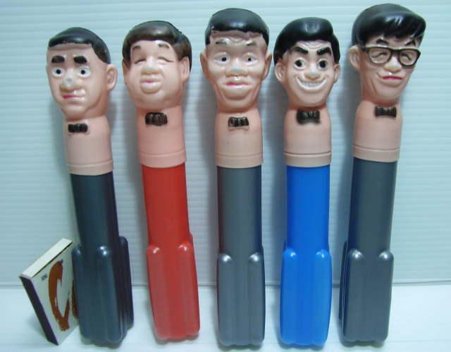 >レア☆トンボ鉛筆 ドリフターズ 首チョンパ 5体セット 当時 企業物 非売品 むかしのイケイケ景品のひとつ(^_