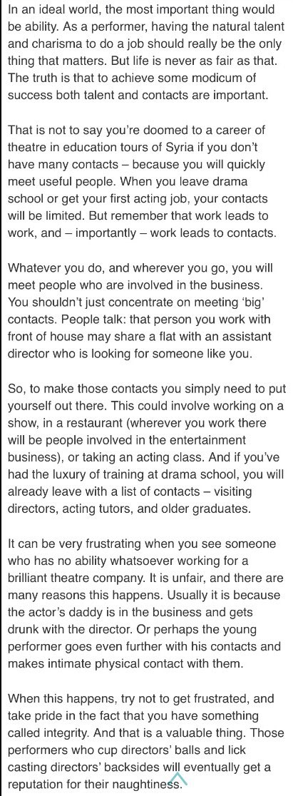 RT @westendproducer: What's more important in an acting career : ability or contacts? #dear https://t.co/TS4AZ7CWAE https://t.co/caYcZ2XLC2