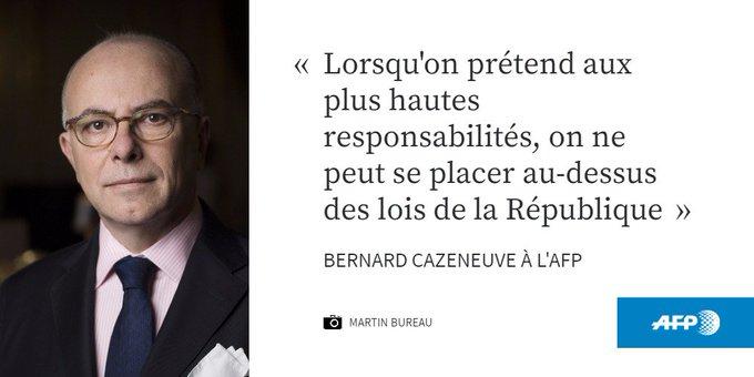 Marine Le Pen 'ne peut se placer au-dessus des lois', dit Cazeneuve https://t.co/ZaERGUc3aT #AFP