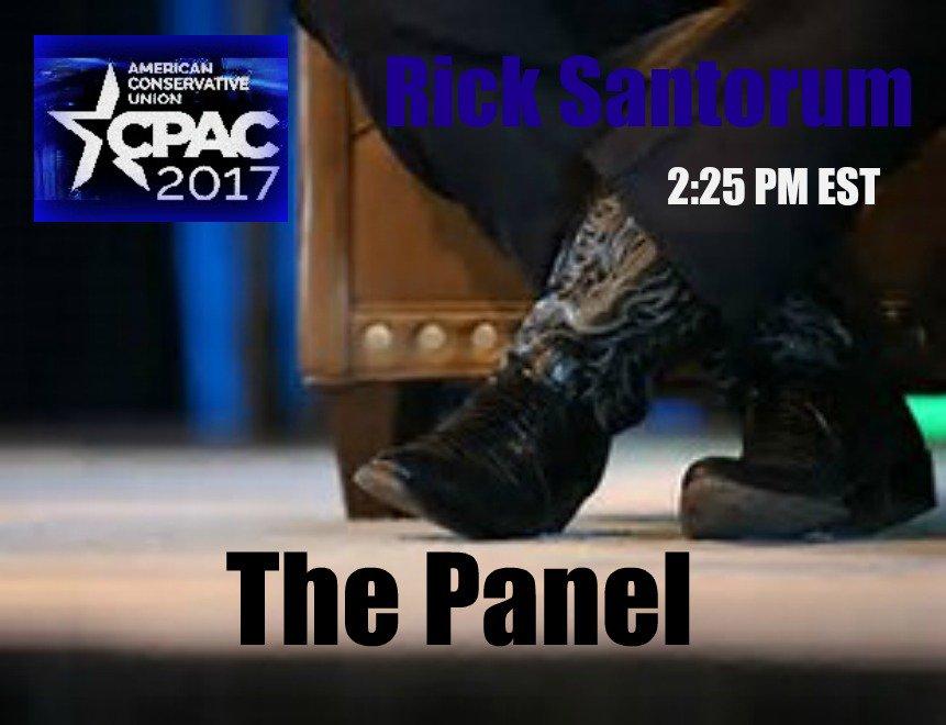 RT @valsthewoman: #CPAC2017 ALERT: @RickSantorum 2:25 Saturday #ThePanel https://t.co/eZSNPISFe1