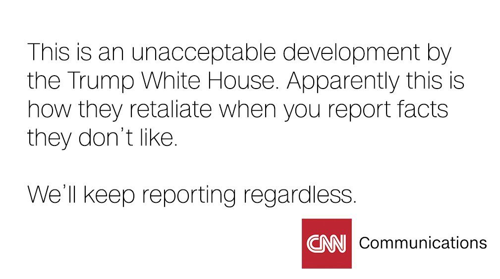RT @CNNPR: CNN was blocked from WH @PressSec's media gaggle today. This is our response: https://t.co/8SfY2uYKEI