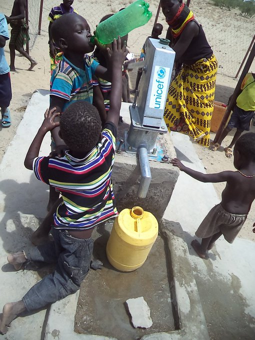An improved water point serves a community in #Kenya. @UNICEFKenya  is working to improve 12 water points in the country. #foreverychild