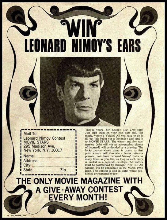 Glad they clarified that you win the Spock ears, not Leonard Nimoy's actual ears. #StarTrek https://t.co/SBUdAOurTV
