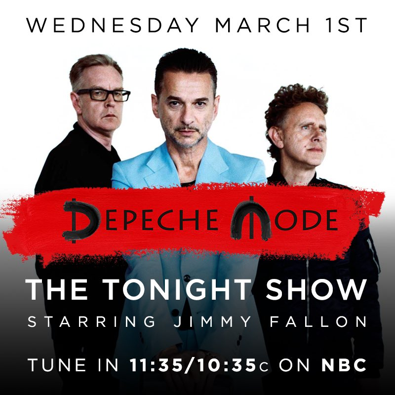 #DepecheMode will be performing #WheresTheRevolution on @FallonTonight 3/1. Tune in 11:35pm ET on @nbc. https://t.co/X7V7REfbbp