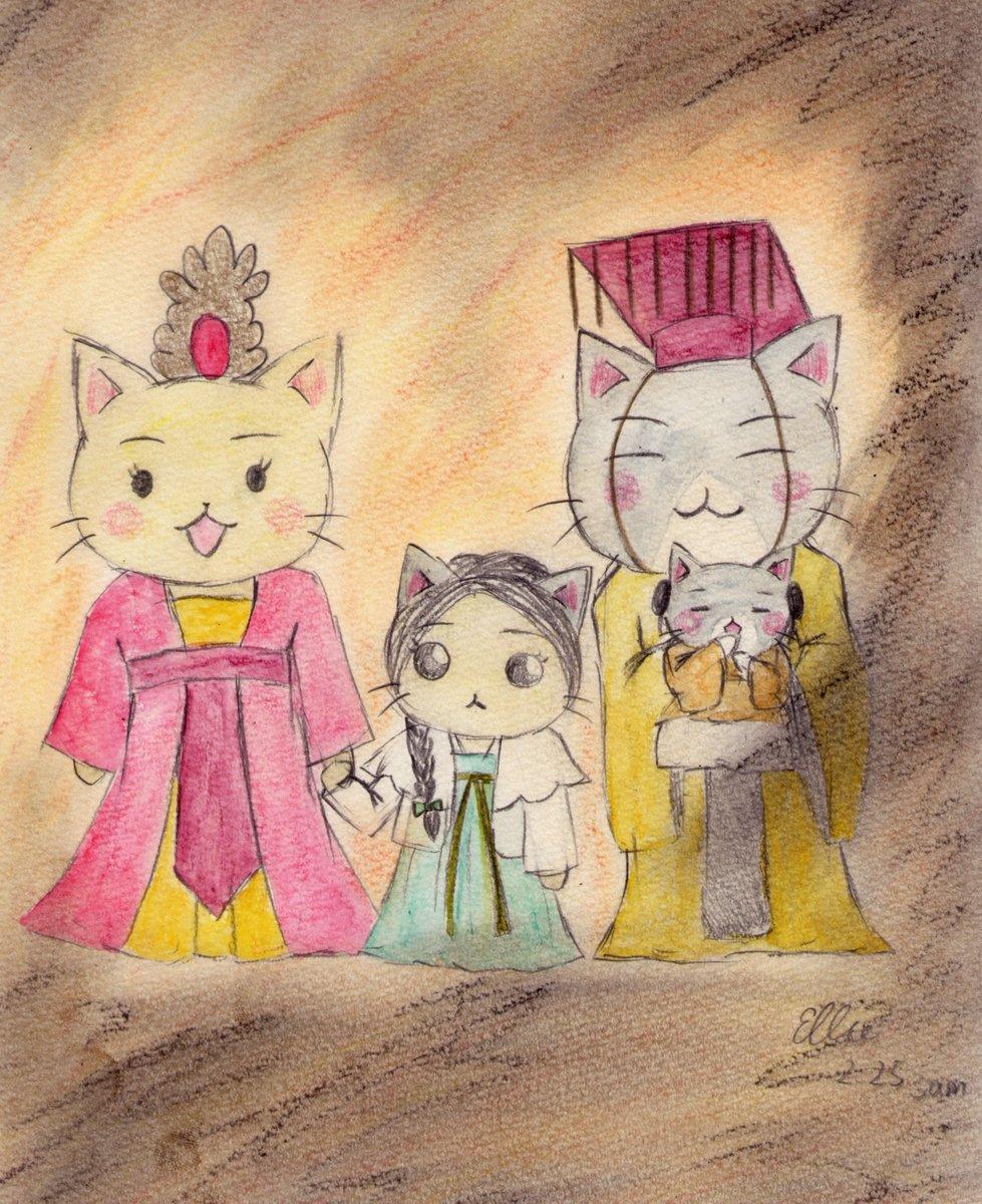 #ねこねこ日本史原作&アニメにはいなかったのですが聖武天皇と光明皇后には娘(皇后と手を繋いでいる緑の服を着た女の子猫)と