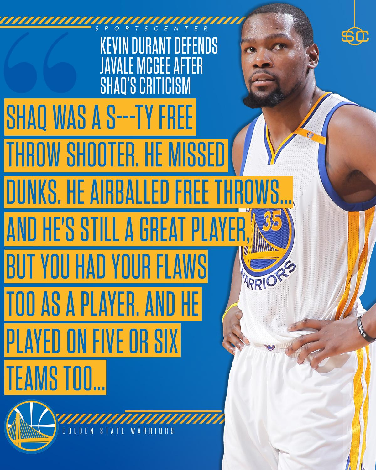 ICYMI: Kevin Durant defended JaVale McGee following Shaq's comments. https://t.co/QoTny1e8qs https://t.co/ynMzn1HUvz
