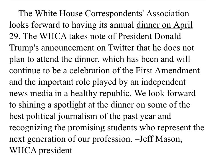 WHCA dinner will go on @jeffmason1 says as a celebration of the First Amendment https://t.co/tKrm73L8As