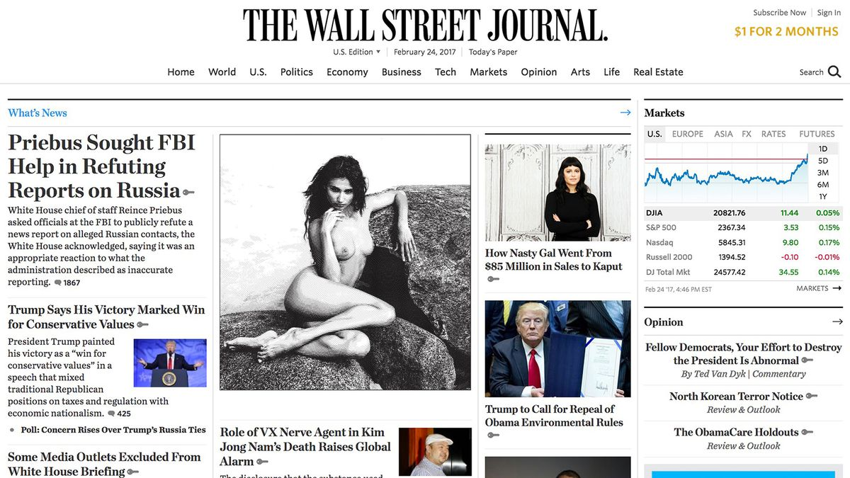 'Wall Street Journal' Reintroduces Nudes After Failed Yearlong Experiment