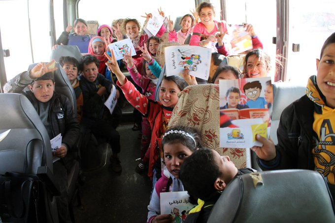 Thanks to donors and partners, transportation to schools in Azraq camp in #Jordan is now available! @UNICEFJordan  #foreverychild, education