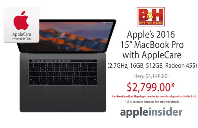 #Apple #Deal: Space Gray 15' #MacBookPro (2.7GHz, 16GB, 512GB, 455) w/ AppleCare for $2,799 https://t.co/Rph5qy2zoe