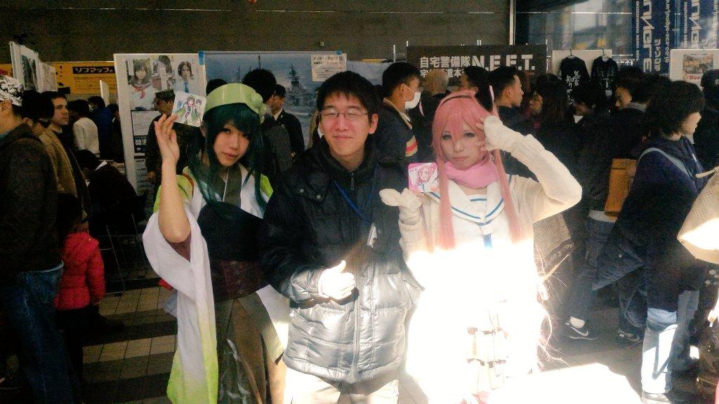 レイヤーの間宮さん(  )、まぁじさん(  )と写真をパチリ。#アキバ大好き祭り #浦和の調ちゃん 結構コースター人気だ