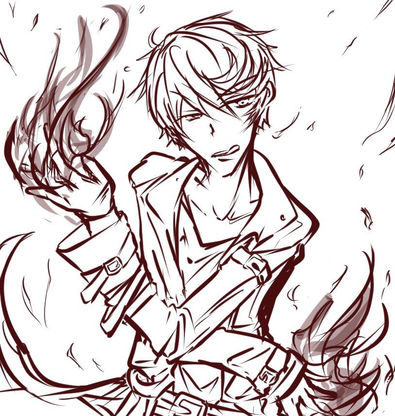 【#ケモ彼】息抜きー炎のソーサラー緋田さん。射程2で燃やし尽くすよ!大昔に描いた異能バトルの続きやりたいんだよね…【ケモ