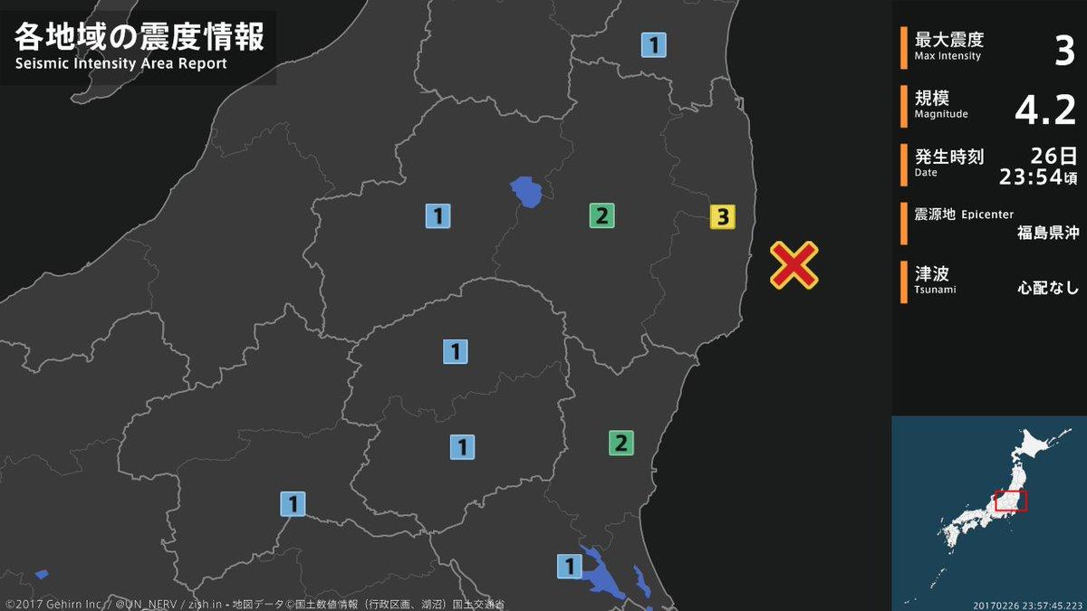【地震情報 2017年2月26日】 23時54分頃、福島県沖を震源とする地震がありました。震源の深さは約60km、地震の規模はM4.2、最大震度3を福島県で観測しています。この地震による津波の心配はありません。