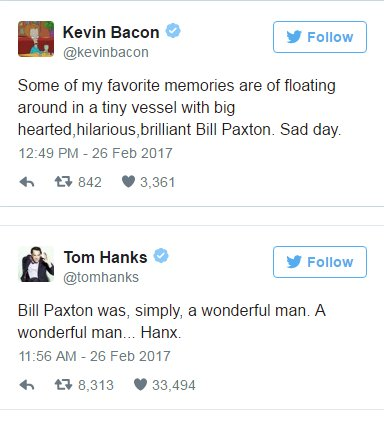 Here's how Hollywood is responding to Bill Paxton's death