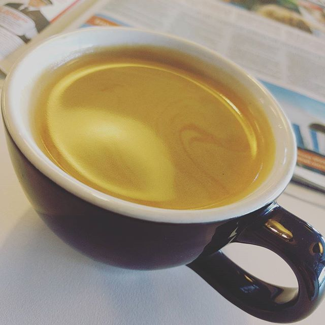 Monday 27 February, 9:10 a.m. - #longblack #crema #delish