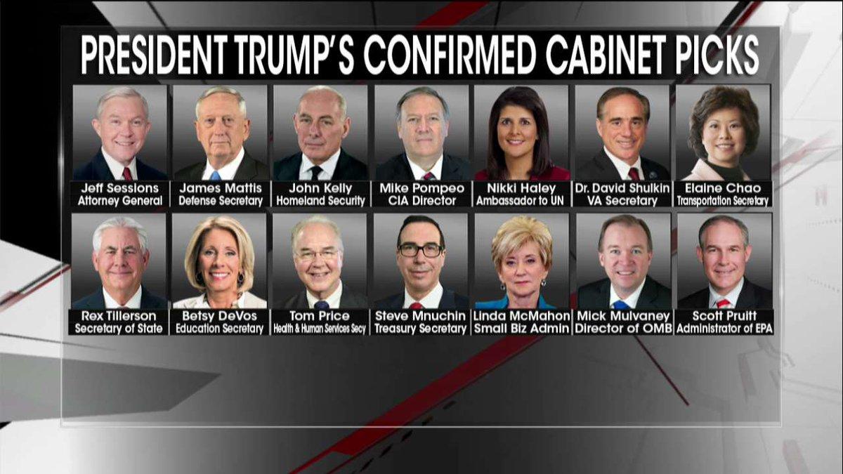 .@POTUS's confirmed Cabinet picks.