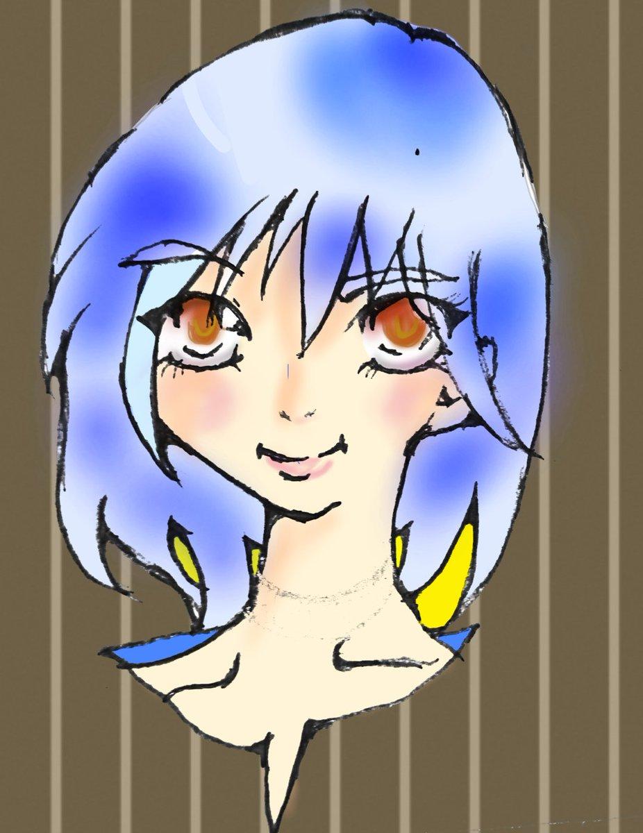 塗ってみた。イメージは 犬神さんと猫山さんから。副会長 竜崎乙女さま。メッシュが白だと寂しいから水色に。竜崎×虎生描いて