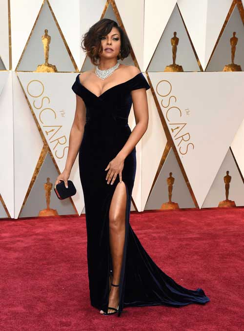 Teraji P. Henson looks stunning in black gown on #Oscars red carpet