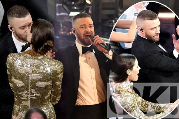 Justin Timberlake and wife Jessica Biel dance and kiss during KILLER Oscars performance