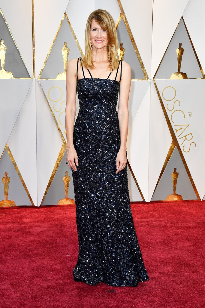 Laura dern wore a navy embellished custom #rodarte gown to the ...