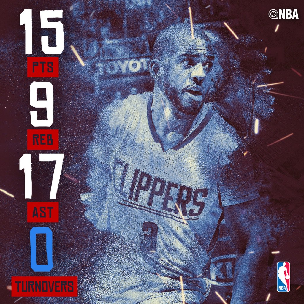15 points, 17 assists, 9 rebounds, 0 turnovers & the @LAClippers W for @CP3!