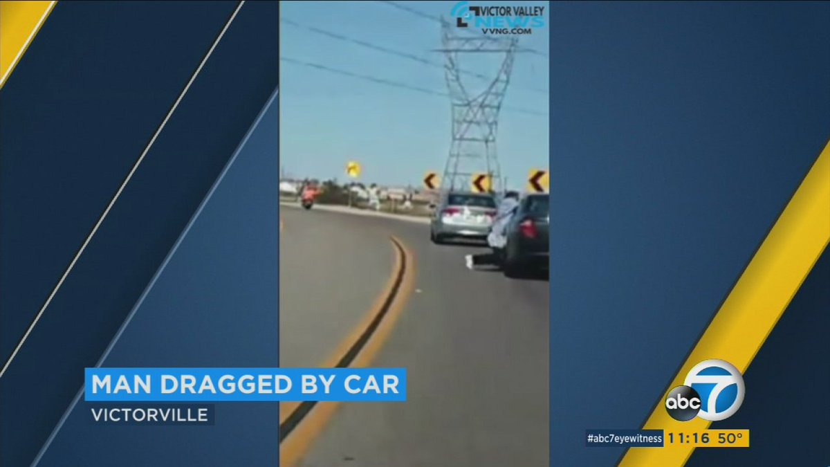 VIDEO Man dragged by car in Victorville after driver snatches up puppy