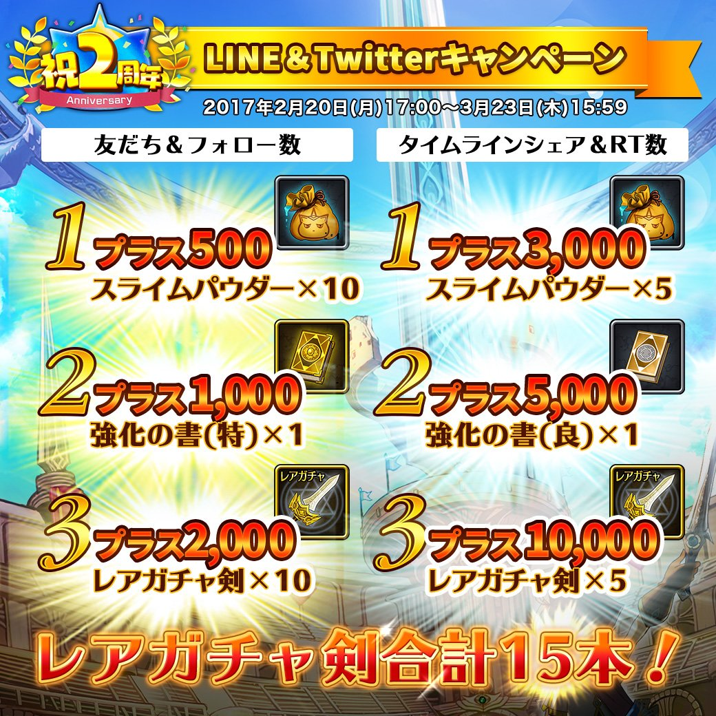『2周年 LINE&Twitter プレゼントキャンペーン』を実施中ニャ!期間中のワガハイのツイートのRT数や、増加した