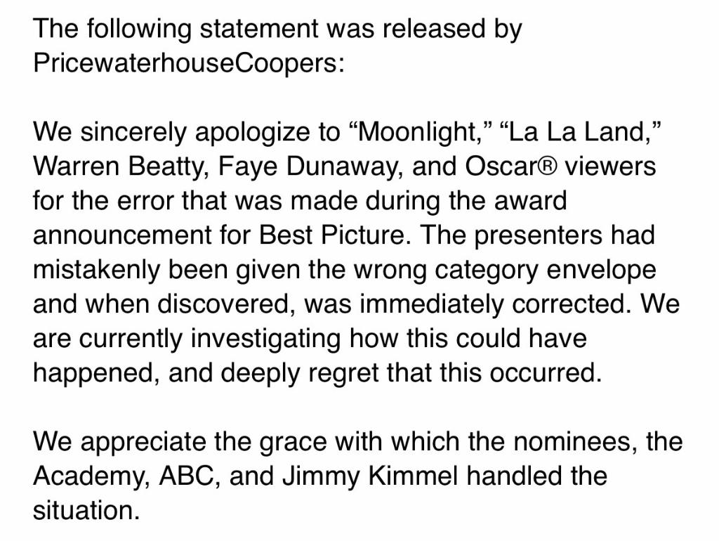 PricewaterhouseCoopers issues statement apologizing for Oscars best picture mix-up