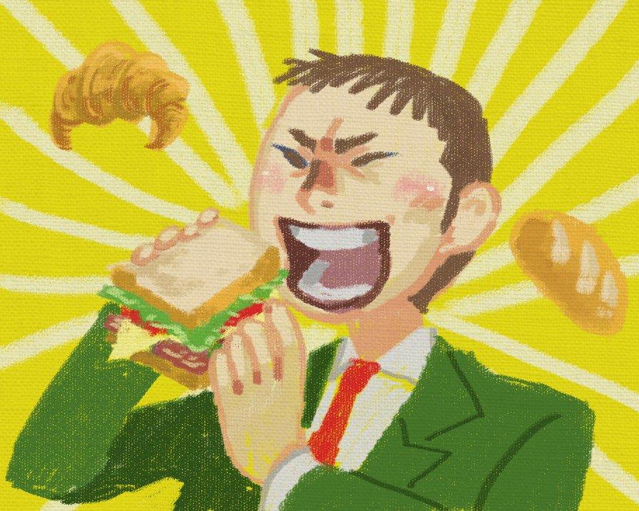 > 弱虫ペダルの田所さんが美味しそうにパンをむしゃむしゃしているところをお願いしたいです。  #odaibako描