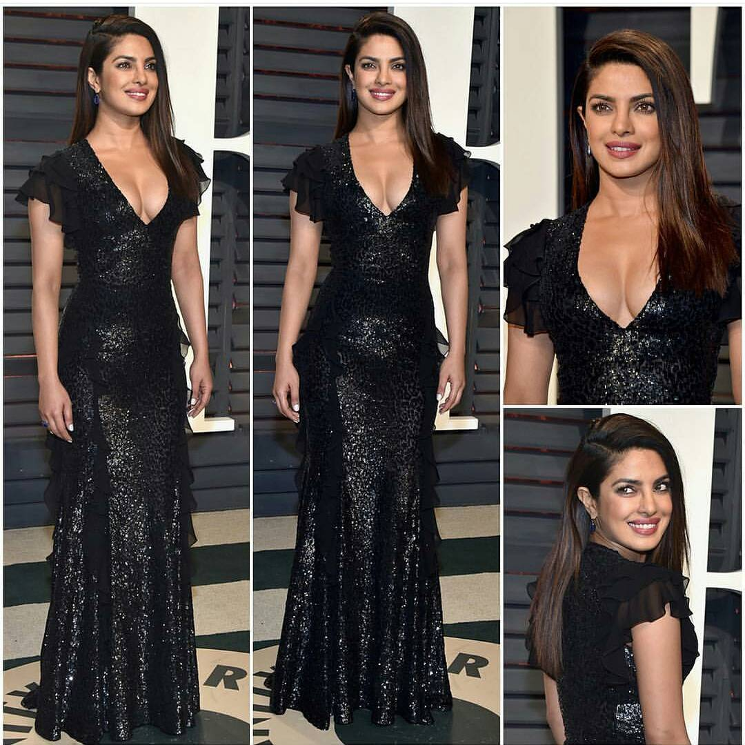 .@priyankachopra looked sexy in black at the Oscars after party 😍❤️ if you love her outfit!