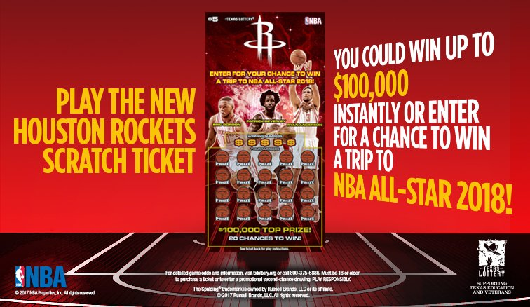 Play the new #Rockets scratch ticket from @TexasLottery and enter for a chance to win a trip to #NBAAllStar 2018! https://t.co/nkz0AeCxLW