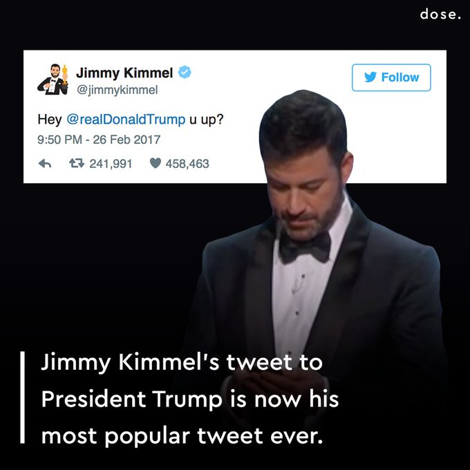 @OMGFacts: RT @dose: Taking bets on how long it will take for Trump to tweet back... #Oscars https://t.co/y62GFh9XFX
