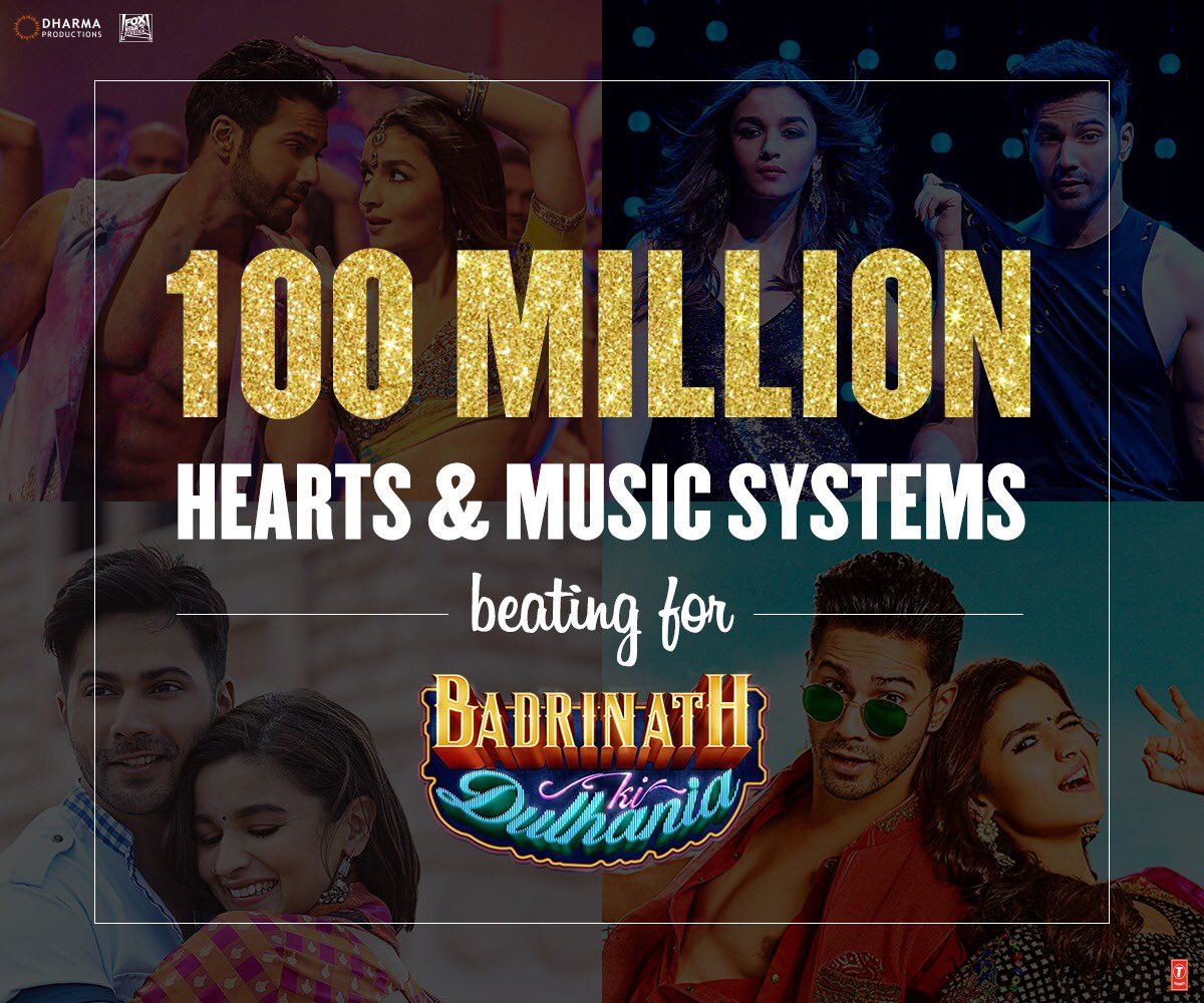 The music topping the charts!!!! #BadrinathKiDulhania @tseries @Varun_dvn @aliaa08 @ShashankKhaitan 100m plus views