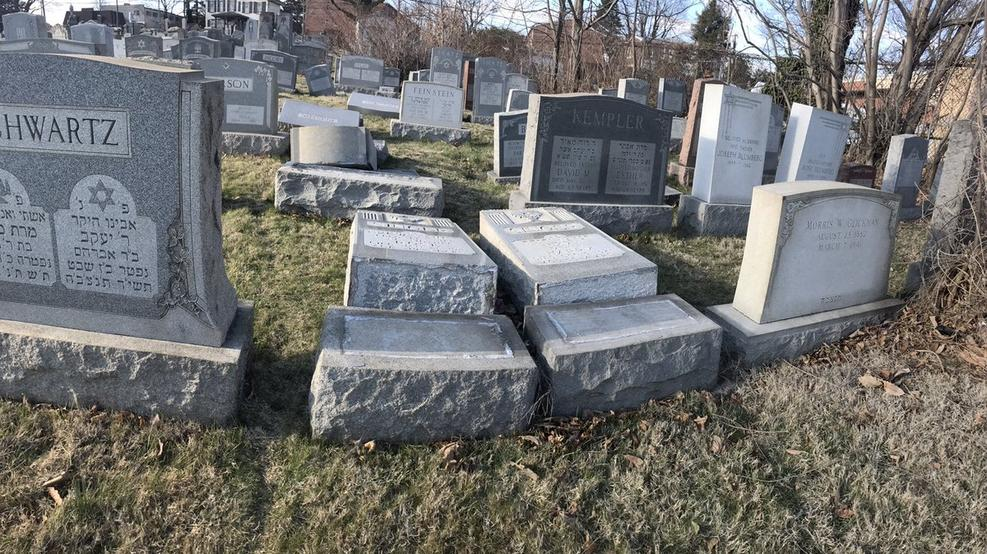 Another US Jewish cemetery vandalized 100s of headstone damaged in Philadelphia.