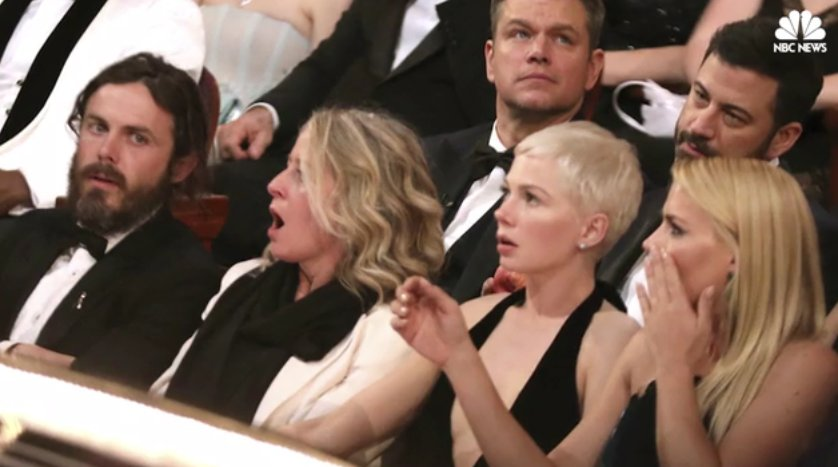 Photos show shock and confusion at the Oscars after Best Picture snafu
