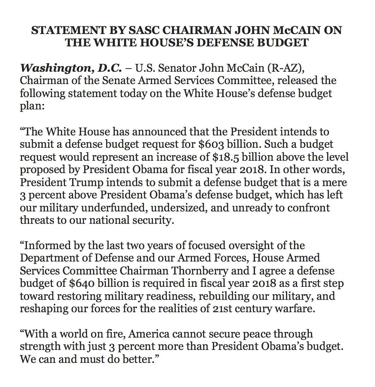@DavidShepardson: RT @BraddJaffy: John McCain says there's not enough defense money in Trump's budget https://t.co/bi5jqLcZuh