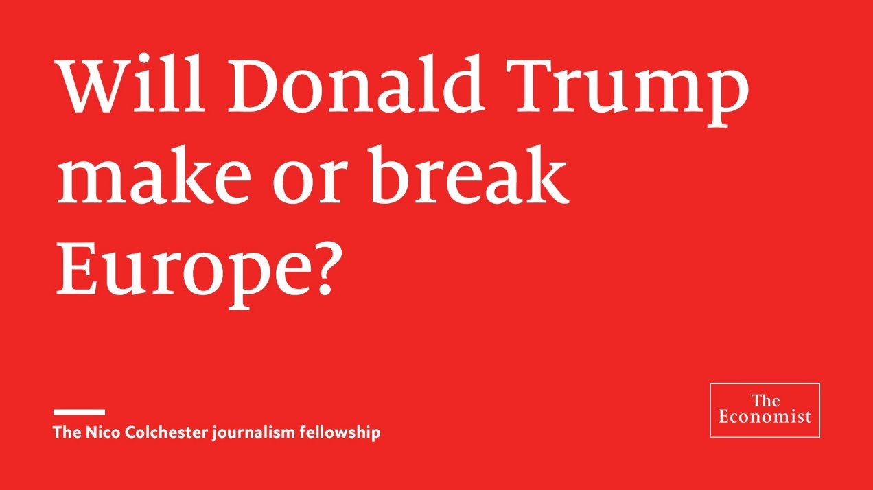 @TheEconomist: A fellowship for a promising journalist who is curious about European affairs https://t.co/tQSEpYTACS https://t.co/OJE53opyzx