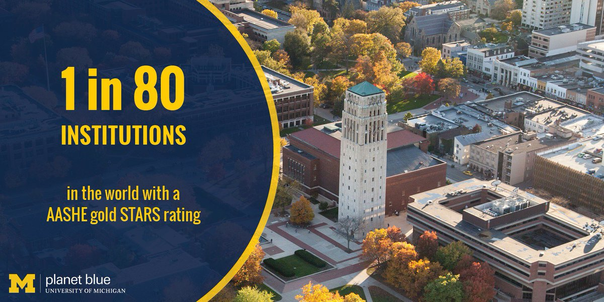 U-M is 1 in 80 institutions in the world with an AASHE gold STARS rating. https://t.co/AwiXrC45Zq https://t.co/br7NtekgaG