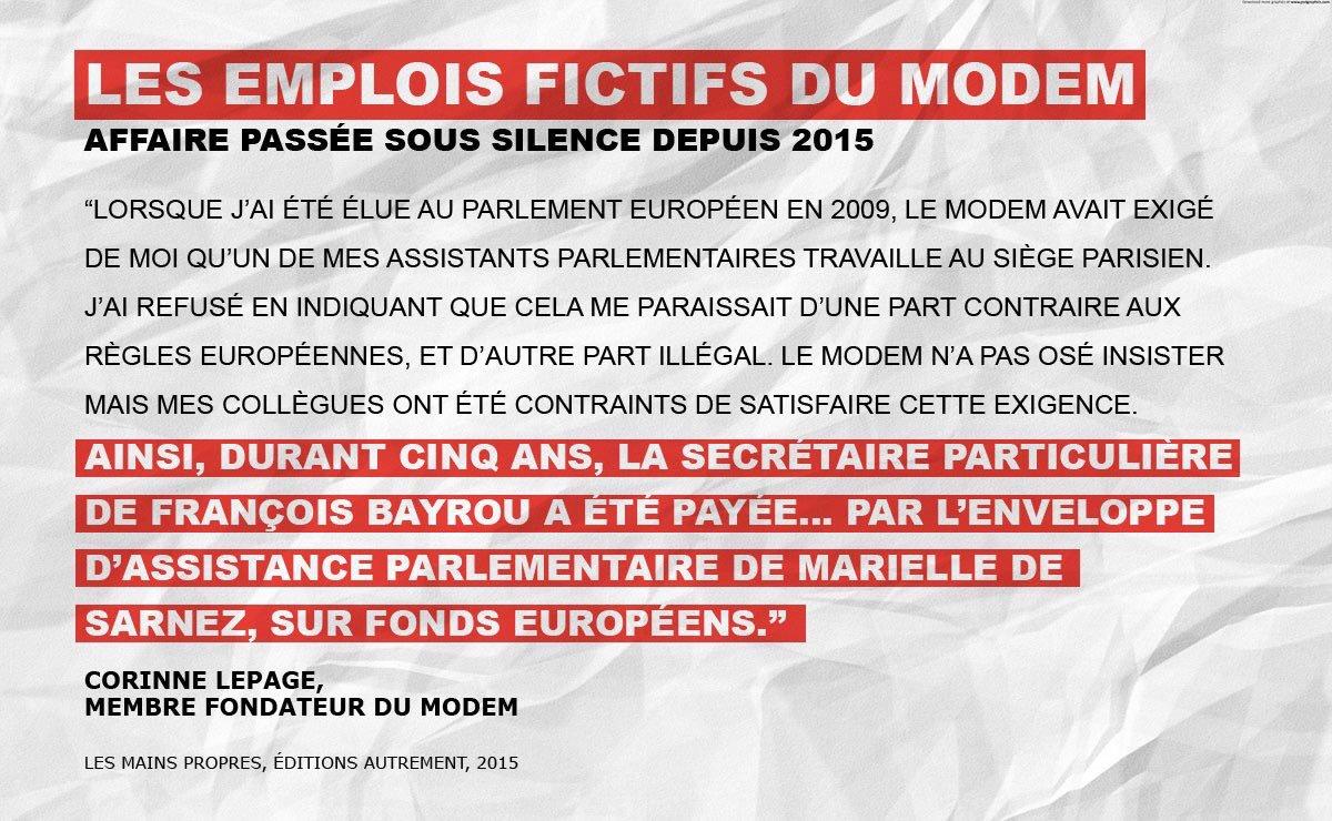 #Bayrou le moralisateur a eu recours à de l'emploi fictif au Parlement européen ! #JeVoteFillon #FillonPresident https://t.co/J2ghe85zRo