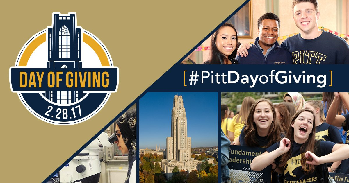RT @PittAlumni: Today is #PittDayOfGiving! Follow us all day for challenges and updates! https://t.co/J3bG6UjWNh https://t.co/ta4kB2Qon8