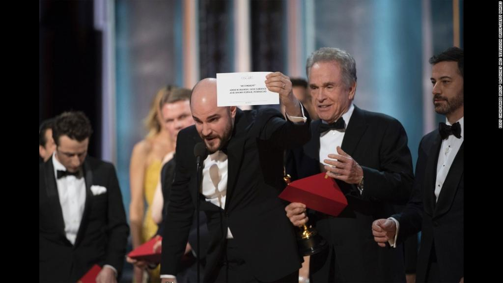 President Trump blames the Oscars best picture mix-up on Hollywood's focus on politics