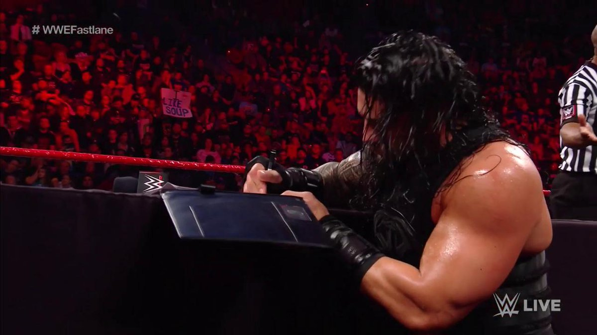 Fear not, @BraunStrowman... @WWERomanReigns STILL signed the contract for the match at #WWEFastlane! #RAW