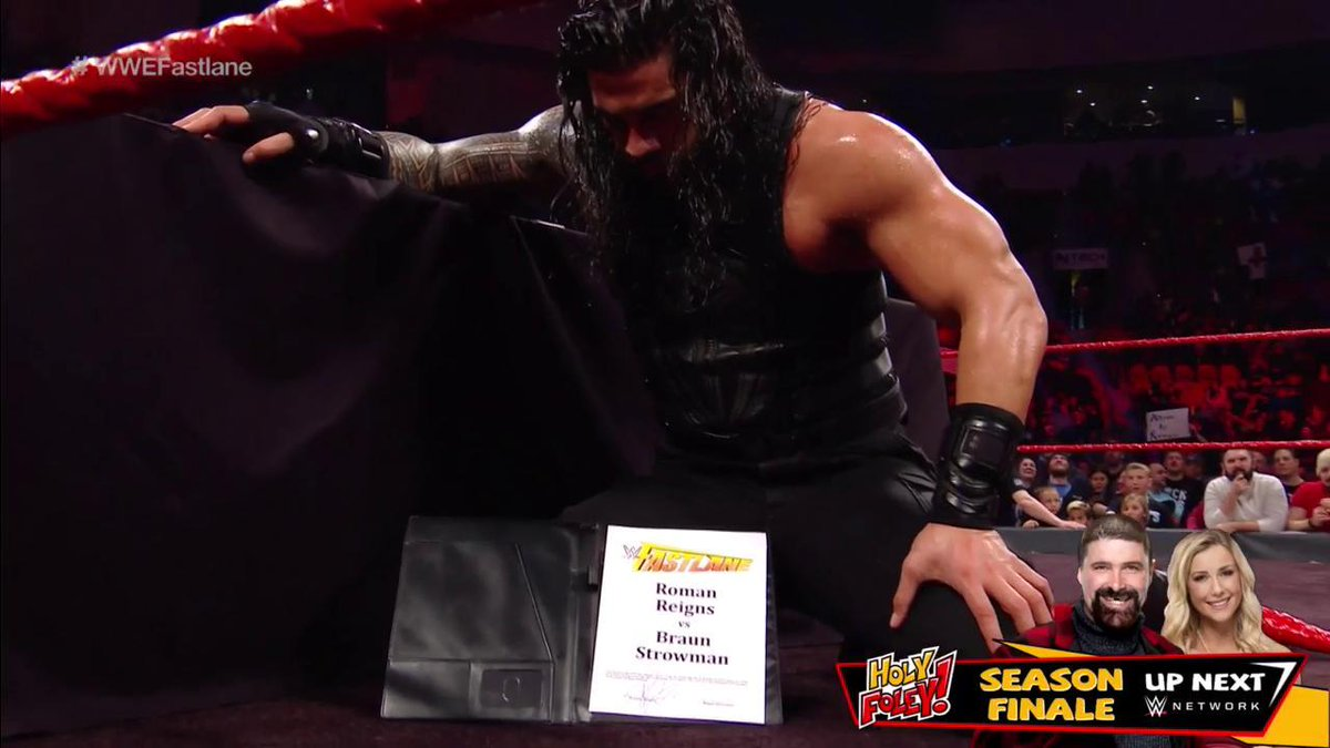 Contract SIGNED! See you THIS SUNDAY at #WWEFastlane! #RAW @WWERomanReigns @BraunStrowman