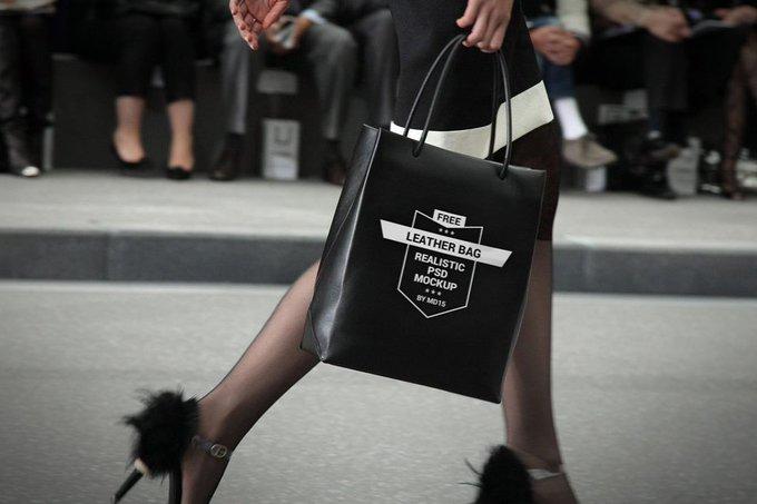 Woman with black Shopping Bag Mockup bag black free freebie freebies mockup shopping