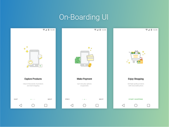 E-Commerce App Onboarding UI   Ui kit by SamIRdDesigner freebie