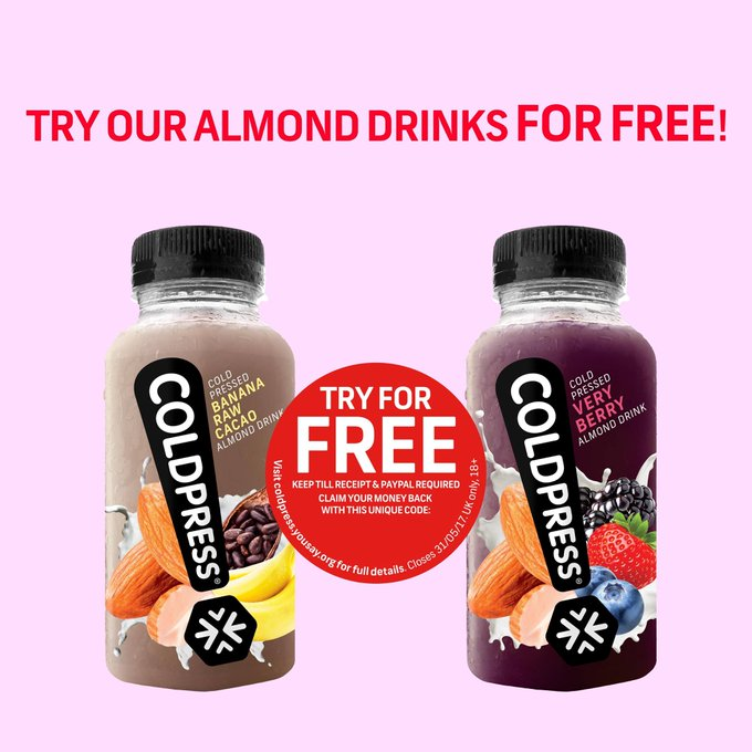 FREE Coldpress Juice Drinks from Sainsbury's >> freebies freedrinks LIKE & RT!